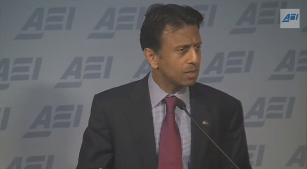 Screen shot of Gov. Bobby Jindal speaking to the American Enterprise Institute in October 2014.